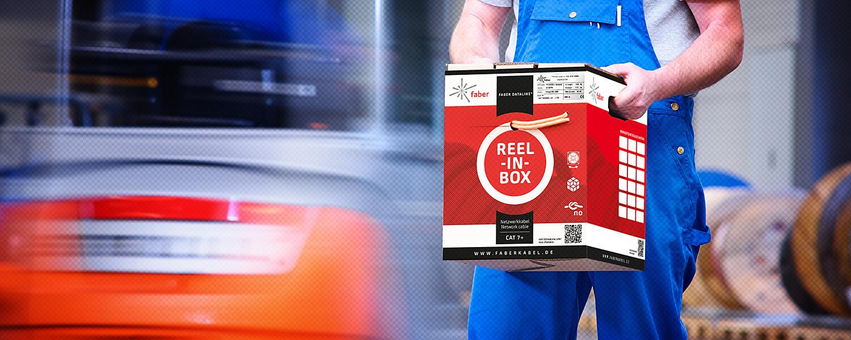 FABER ® Reel-in-Box für Datenleitungen.