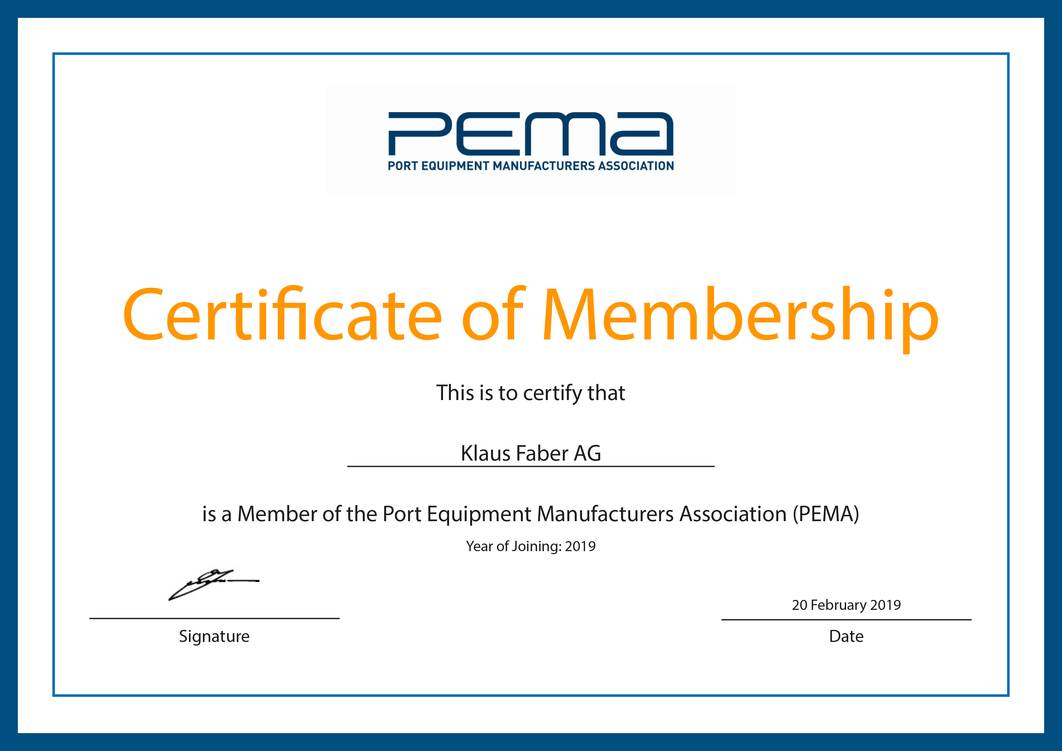 PEMA Membership confirmed